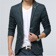 Storm collar denim blazer Fashion Font, Mens Fashion, Denim Casual, Denim Blazer, Business Casual, Suit Jacket, Men's Style, Coat, Sexy
