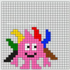 Min mamma jobbar som Förskollärare och frågade om jag kunde göra Babblarna i pärlplattor. Så jag satte mig ner vid skrivbordet och började pyssla ihop lite pärl Fuse Bead Patterns, Beading Patterns, Embroidery Patterns, Cross Stitch Patterns, Knitting Patterns Boys, Hama Beads Design, Small Cross Stitch, Pony Beads, Loom Beading