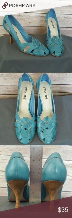Strikingly Unique Blue Leather Heels! These are sooooo gorgeous! Barely worn; wear as pictured. I'm in denial that they're just a little to big for me. REALLY wanted them to work! The leather has a sort of marbled look to it. All thoughtful offers considered! Shoes Heels