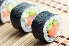 """Love that sushi, well read this. The widespread emergence of sushi has been a mini miracle for foodies. Delicious foreign cuisine that's easy to find and healthy, too?But not so fast. """"I counsel a lot on sushi,"""" s. Maki Sushi Roll, Sushi Rolls, Sushi Japan, Sushi Restaurants, Healthy Sushi, Healthy Eating, Seafood Recipes, Cooking Recipes, Recipes Dinner"""