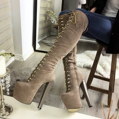 b0675ee76401 Beige Lace Up Over The Knee Boots – Tajna Club Only Shoes