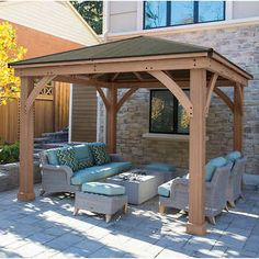 Wood Gazebo with Aluminum Roof by Yardistry. Expand your outdoor living space with this beautiful Wood Gazebo with Aluminum Roof by Yardistry. The stunning design features a Montana bronze aluminum roof, 6 in. Casa Patio, Backyard Pavilion, Backyard Gazebo, Backyard Patio Designs, Outdoor Pergola, Pergola Designs, Backyard Landscaping, Backyard Ideas, Cozy Backyard