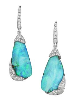 Mimi So ZoZo Boulder Opal and Diamond Earrings in white gold.