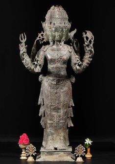 """View the Brass Standing 4 Faced Brahma Statue 45"""" at Hindu Gods"""