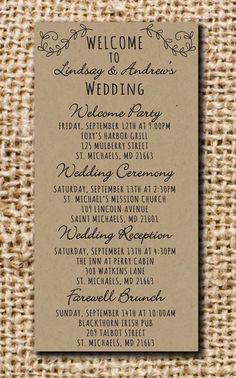 Kraft Wedding Itinerary for Hotel Bags by CamilleMonacoDesigns