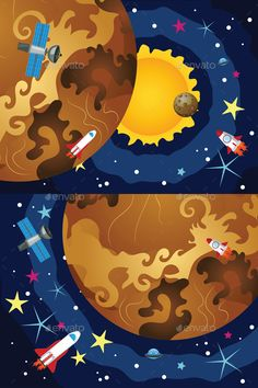 Venus in the Space by AnnArtshock Cartoon space background with the Venus and stars