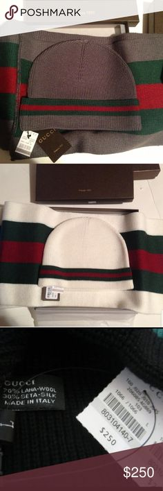 Gucci Hat and Scarf Set Brand new with tags.  Available in white and gray. Accessories Scarves