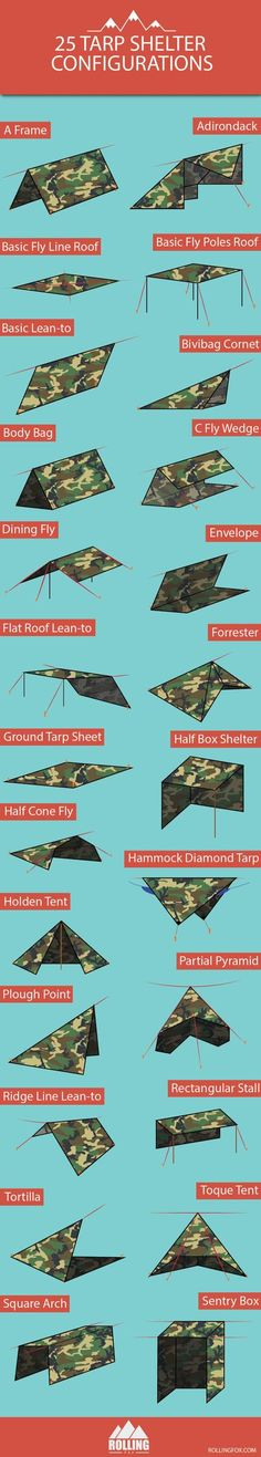 25 different shelter designs to get you started. Each has its pros and cons and there isn't really a perfect design for all occasions. Choose the right one depending on your situation or just try them all to test your bushcraft tarp setup skills. Bushcraft Camping, Camping Survival, Outdoor Survival, Survival Prepping, Emergency Preparedness, Survival Gear, Survival Skills, Camping Gear, Camping Hacks