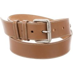 Pre-owned Miu Miu Logo Leather Belt (€54) ❤ liked on Polyvore featuring accessories, belts, brown, real leather belts, miu miu, brown belt, 100 leather belt and brown leather belt