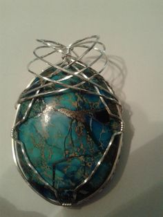 Copper Turquoise Wire Wrapped With Sterling Silver by MamaGotRocksJewelry on Etsy