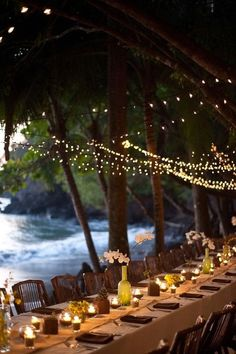 This seaside setting was already amazing, but adding the strings of light created party perfection!