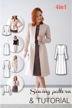 Transformable Coat Sewing Pattern - Coat Patterns - Jacket Patterns - Bolero Pattern - Skirt Patterns - Blazer Pattern - Sewing Tutorials - Sewing E-book, Clever!Schnittmuster - Mantelmuster - Jackenmuster - Bolero-Muster - Rock… Source by barschoe Coat Pattern Sewing, Blazer Pattern, Coat Patterns, Jacket Pattern, Clothing Patterns, Dress Patterns, Pattern Skirt, Simple Sewing Patterns, Sewing Coat