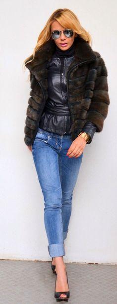 Dyed Mink Fur Jacket