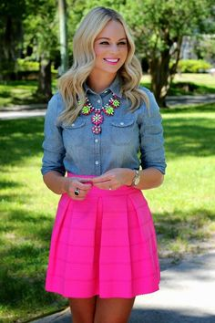 Pink , denim, and a statement necklace. What a fun outfit idea!