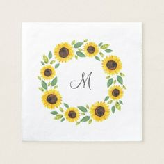 Shop Hand Painted Watercolor Sunflower Wreath Napkins created by MartiGambaArt. Sunflower Canvas Paintings, Simple Canvas Paintings, Easy Canvas Art, Small Canvas Art, Watercolor Sunflower, Mini Canvas Art, Easy Canvas Painting, Cute Paintings, Small Paintings