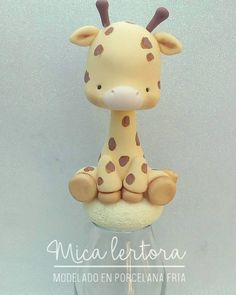 Sculpey Clay, Cute Polymer Clay, Cute Clay, Polymer Clay Miniatures, Polymer Clay Crafts, Fondant Giraffe, Fondant Animals, Cold Porcelain Tutorial, Safari Cakes