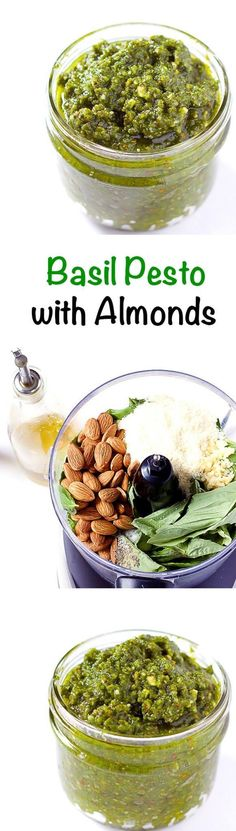 Basil Pesto with Almonds - How to make basil pesto with almonds instead of pine nuts. Perfect for pasta, chicken, seafood, or even as a spread on sandwiches. (How To Make Butter Noodles) Pesto Sauce, Pesto Recipe, Vegetarian Recipes, Cooking Recipes, Healthy Recipes, Pasta, Sandwiches, Basil Pesto, Italian Recipes