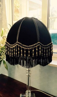 A Victorian - lampshade - black - velvet- beaded - fringe - beaded lampshade - parasol lampshade - black velvet - vintage by PantallaLampshades on Etsy