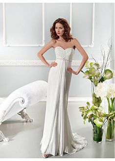 Gorgeous Chiffon Sweetehart Neckline Raised Waistline Sheath Wedding Dress  Wedding Dress Outlet 1689f6f8c273