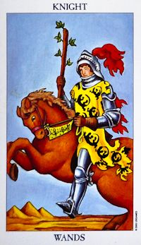 Upright: Energy, passion, lust, action, adventure, impulsiveness  Reversed: Haste, scattered energy, delays, frustration