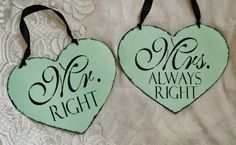 Wedding Signs  2 pc set, mr right, mrs always right, wedding lot, decor, chair signs, photo props,  bride, groom mint green black on Etsy, $25.00