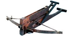 The Nu was a semi-automatic crossbow invented by Chinese about 2,400 years ago. It comprises a feeder on top and a lever near the end for repeating action. Skilled crossbowman could launch 10 bolts in 15 seconds before before exhausting the magazine.