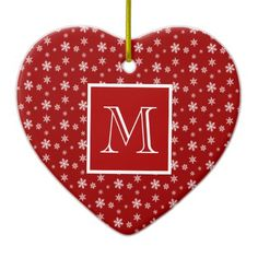 Cute Heart Shaped Ornament, Crimson Red & White Polka Dot Snowflakes, add your Initial on the Crimson & White label #Christmas #ornament #heart #monogram #snowflakes