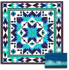 """This Desert Beauty knock-out""""Taos"""" Block of the month(or All at Once) Queen Size Quilt by Whirligig Designsfeatures Stonehenge Fabrics and measures a generous Queen size quilt - 102"""" x 102"""".  For this quilt we have blended gorgeous aqua colors along with a variety of blues and purples and a hint of green. This is an 11 month program, ready and every month, for 10 months, you will receive the instructions and Stonehenge fabric by Northcott to make blocks and portions of the quilt. In…"""
