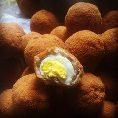 Scotch eggs made using the finest pheasant eggs in Northumberland.  My own flock of hens just laying for the foodchain