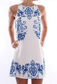 Ethnic Style Round Neck Sleeveless Print Shift Dress For Women #Fashion #Women…