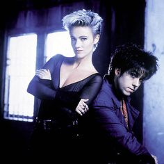 """Roxette, a Swedish pop rock duo, consisting of Marie Fredriksson (vocals) and Per Gessle (vocals and guitar). Formed in 1986, the duo became an international act in the late 1980s, when they released their breakthrough album """"Look Sharp!""""."""