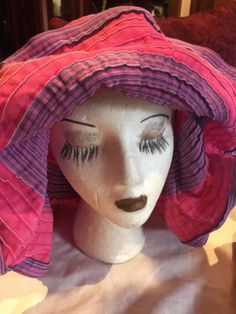 Vintage Fuchsia And Purple Ribbon Wide Brim Hat