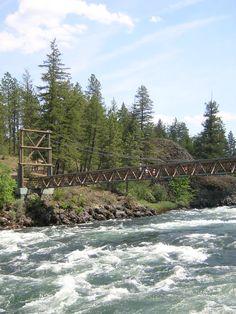 Walk across the swinging bridge near Bowl & Pitcher at Riverside State Park!