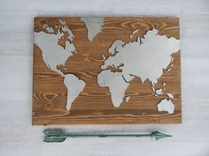 Christmas gift for traveler. Use code SHOPSMALL150 for discount. Large Wood World Map....Rustic World by HavensPlace on Etsy #shopsmall150