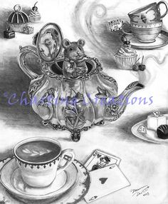 Dormouse Original Art Alice In Wonderland Art Fairy Tale Art Fantasy Art Dormouse Drawing Mouse Art Mouse Drawing by deannadavoli on Etsy Dormouse Alice In Wonderland, Alice In Wonderland Series, Alice In Wonderland Aesthetic, Victorian Teapots, Victorian Art, Gothic Art, Cute Animal Drawings, Art Drawings, Graphite Drawings