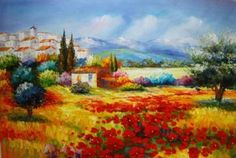 Amazon.com: Modern Abstract Oil Painting on Canvas Wall Art Home Decoration Italian Tuscany Red Poppy Field Landscape gd70: Home & Kitchen