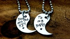You Are The Yin To My Yang Hand Stamped Necklace Set, Yin Yang Necklace, Couples Gift Set, His and Hers Gift Set, Split YinYang Necklace Set by JazzieJsJewelry on Etsy