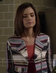 Melissa's striped jacket on Pretty Little Liars.  Outfit Details: http://wornontv.net/16828/ #PLL