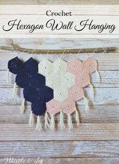 Hexagon Crochet Wall Hanging ~ not caring for these colors, I think I would use variegated yarns.***AFTER ATTEMPTING this pattern, I'd say find a pattern that is explained better. Mine doesn't even look like a Hexagon. Very poor step instructions!!!***