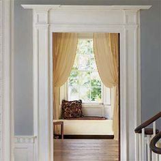 Bulk Up Door Trim How to do it: Build up a wimpy entry door casing in your foyer with applied moldings to create a more substantial first impression of your home. Estimated cost: Four primed white miterless molding inspiration-to-organize-home-improvement Home Improvement Projects, Home Projects, Vintage Tub, Interior Decorating, Interior Design, Diy Interior, Decorating Ideas, Decor Ideas, Door Casing