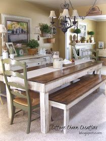Cottage Charm Creations: Custom Built Furniture long farm table seat 8-12 depending on length. Benches or chairs??