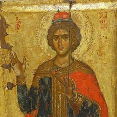 Святой пророк Даниил во рву львином. Византийская икона в монастыре Ватопед на Афоне.