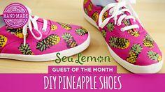 Diy pineapple shoes by sea lemon - white shoes challenge week - hgtv han. Diy Clothes Vintage, Diy Clothes And Shoes, Diy Summer Clothes, Diy Clothes Videos, Summer Diy, Summer Ideas, Summer 2015, Diy Clothes Hanger Storage, Cute Pineapple