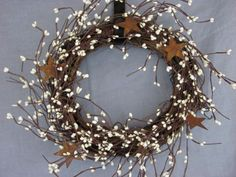 "10"" Ivory Rusty Star Pip Berry Twig Grapevine Wreath"