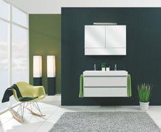 Budget badmeubels : Actieblok Trendy 100 cm m. spiegelk. en LED | Happybad. Uit voorraad leverbaar !
