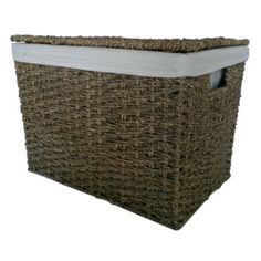 Seagrass Lidded Storage Baskets lined with a removable cotton lining.The baskets have a metal frame with the seagrass woven around it. Lid Storage, Storage Baskets, Trunks And Chests, Weave, Bedding, Range, Toys, Natural, Metal