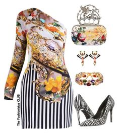 """""""The Fashionistas CLUB"""" by kemiakinajayi on Polyvore featuring Mary Katrantzou, Alexander McQueen and Just Cavalli"""
