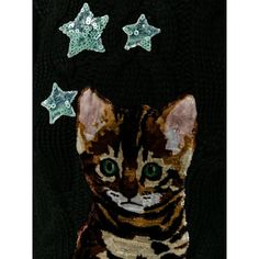 Dolce & Gabbana Dolce & Gabbana Bengal Cat Patch Jumper (2,130 CAD) ❤ liked on Polyvore featuring tops, sweaters, cable jumper, long sleeve sweater, chunky cable knit sweater, sequin top and cashmere sweater