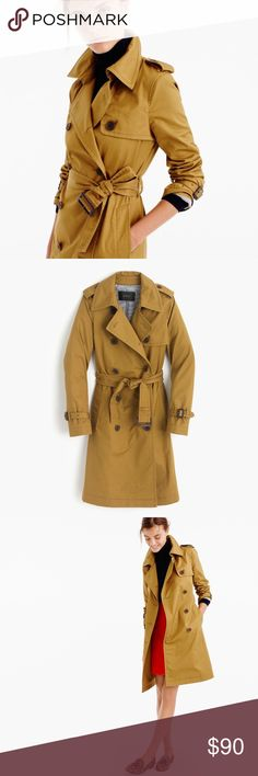 J. Crew trench coat NWT J. Crew trench coat! So cute and is classic piece to own in your wardrobe. Coat is a size 2; I am usually a 4, but this coat runs a little big! I could still wear a thick shirt underneath and this fits perfectly! It is a dark tan color - sort of an acorn color. J. Crew Jackets & Coats Trench Coats