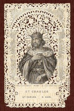 19th Century French Lace Holy Card ... St. Charles